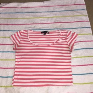 Pink and white striped crop top